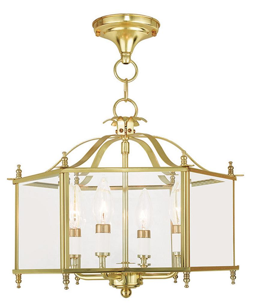 Polished Brass 4 Light Livex Livingston Clear Dual Mode