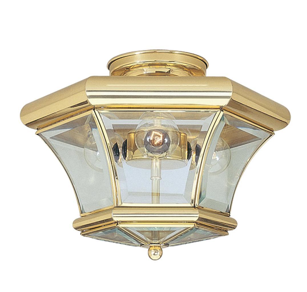 Beacon Hill Livex 3 Light Polished Brass Semi Flush Mount Ceiling Lamp 4083-02 eBay