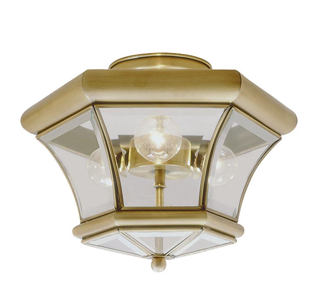 Vanity Lights Beacon : Livex 3 Light Beacon Hill Antique Brass Semi Flush Mount Ceiling Fixture 4083-01 eBay