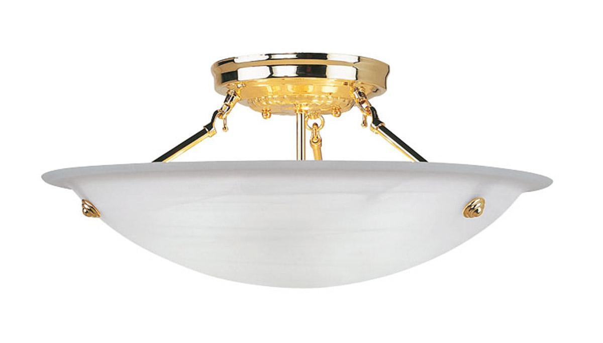 Semi Flush Ceiling Lights Glass Brass Fixture Bathroom: Livex 3 Light Polished Brass Home Basics Semi Flush Mount