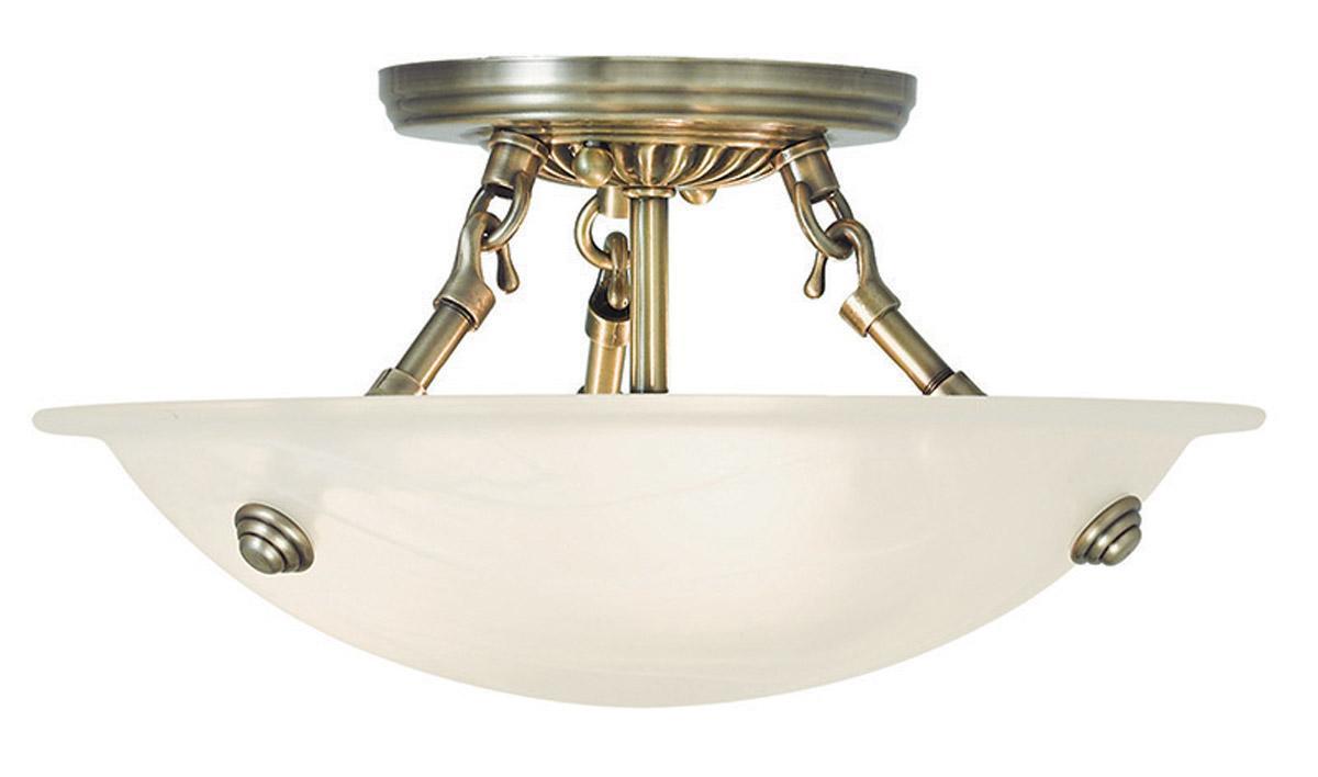 Semi Flush Ceiling Lights Glass Brass Fixture Bathroom: 3 Light Livex Antique Brass Oasis Semi Flush Ceiling