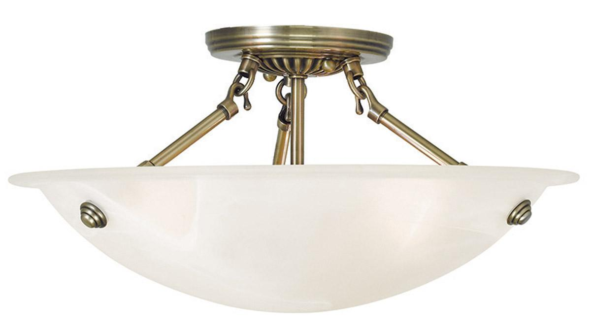 Bathroom Flush Ceiling Light Fixture Flush Mount Light: 3 Light Livex Oasis Antique Brass Semi Flush Mount Ceiling