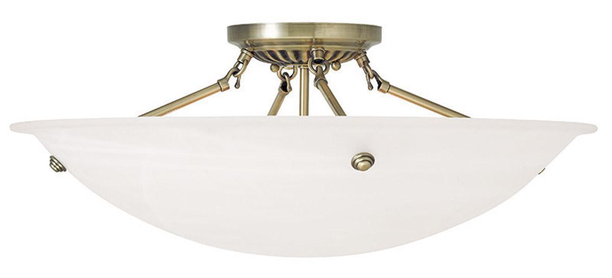Semi Flush Ceiling Lights Glass Brass Fixture Bathroom: Antique Brass Livex 4 L Oasis Semi Flush Ceiling Mount