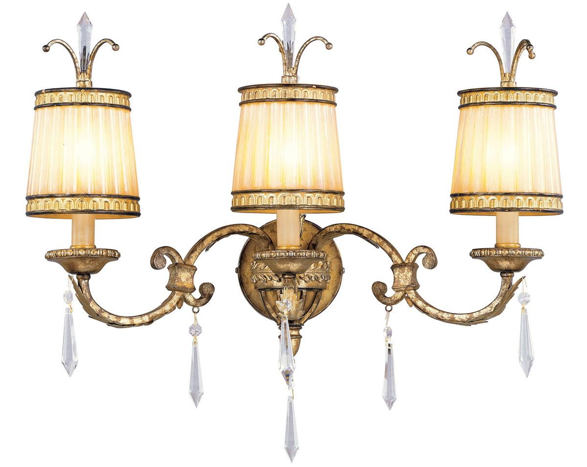 3 Light Vintage Gold Leaf Livex La Bella Bathroom Vanity Wall Fixture 8813 65