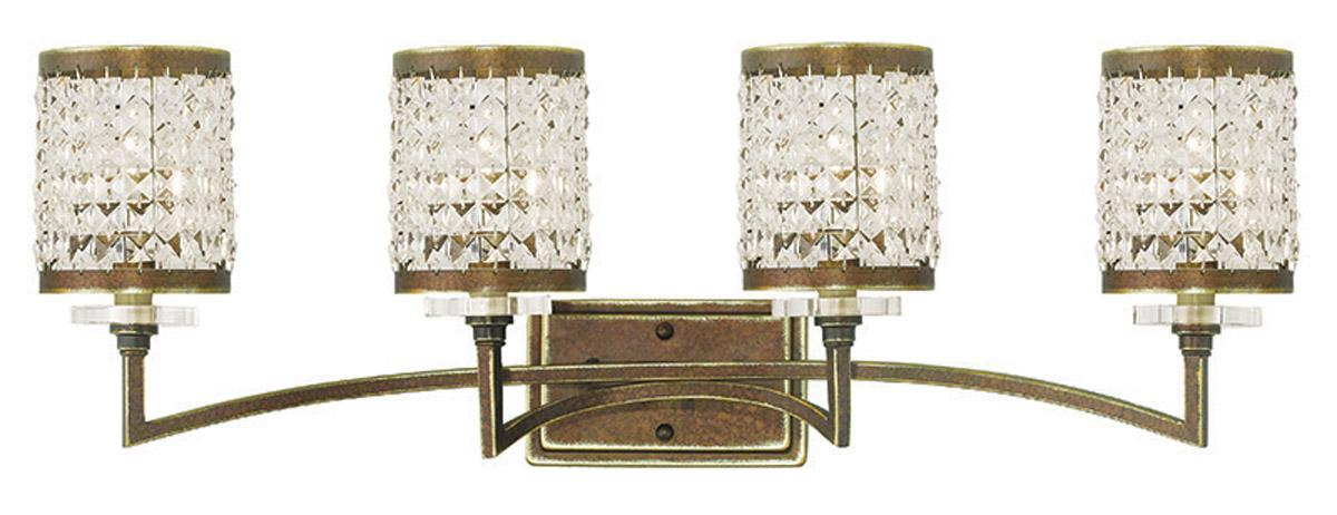 Palacial Bronze 4 Light Grammercy Livex Crystal Bathroom