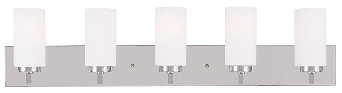 Chrome 5 Light West Lake Livex Bathroom Vanity Wall