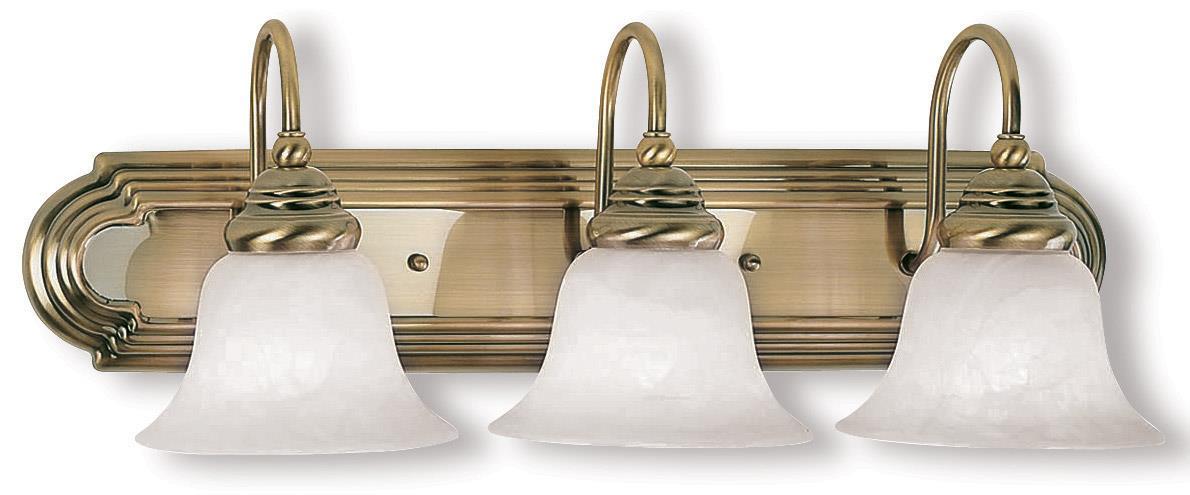 New 3 Light Bathroom Vanity Lighting Fixture Antique Brass: Livex 3 L Belmont Antique Brass Bathroom Vanity Lighting