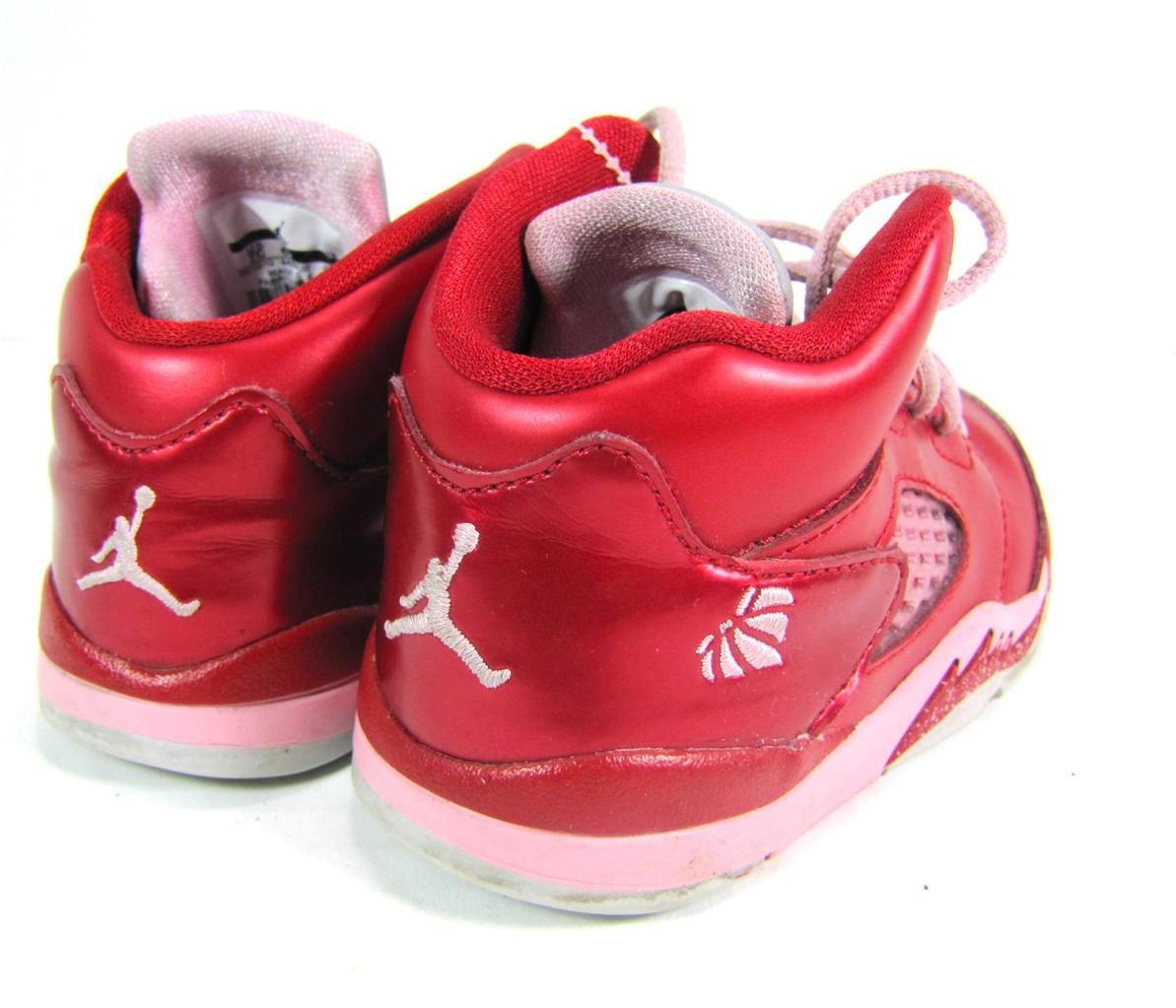 JORDAN Metallic Red and Pink Baby Girl Shoes Size 7C GOOD