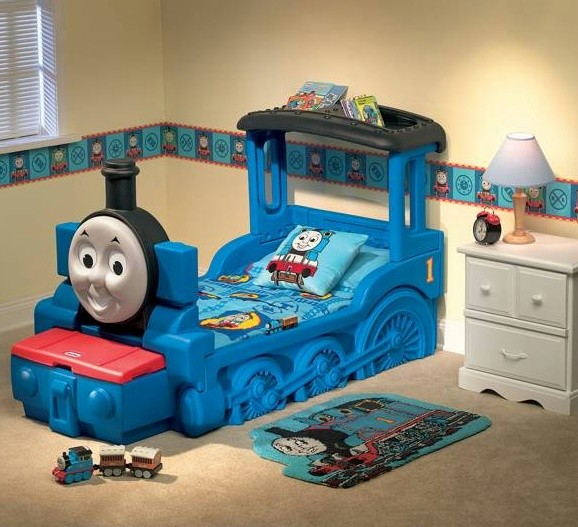 Thomas train tank bed crib little tikes kids bedroom ebay for Toddler train bedroom