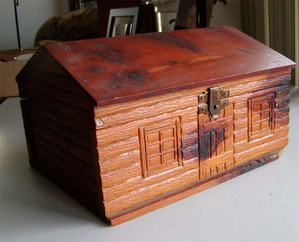 Amazing photo of  about Antique PA Made Log Cabin Cedar Cigar Box 5 Cent Cigars ESTATE with #9E542D color and 1262x1023 pixels
