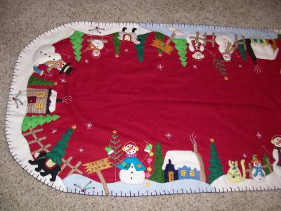 SNOWMAN runner large Embroidery Applique scene Bead table  TABLE Handmade christmas RUNNER CHRISTMAS