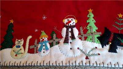 CHRISTMAS RUNNER Bead TABLE table runner SNOWMAN  large christmas scene Applique Handmade Embroidery