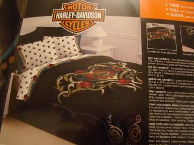 Harley davidson twin comforter set heart tattoo bedding ebay for Tattoo bedding queen