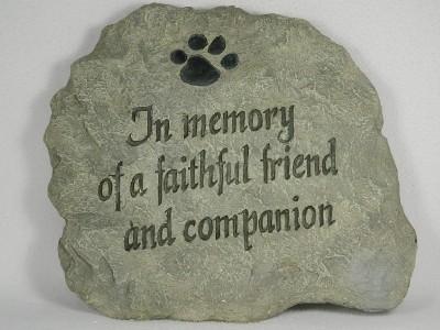 Pet Memorial Stone Hang Set 'in Memory of A Faithful Friend Companion' NIB