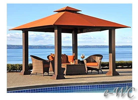 Backyard Cabanas Gazebos : OUTDOOR 12 x12 WICKER PERGOLA  GAZEBO  PATIO or POOL SIDE CABANA