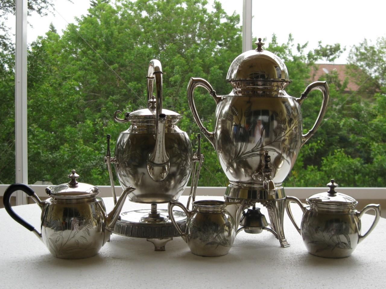 Antique Victorian Meriden Sp 5 Pc Tea Amp Coffee Samovar Set