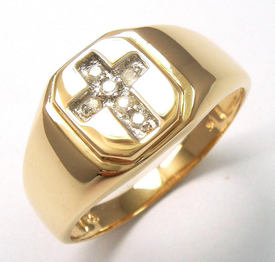 9kt yellow gold cross diamonds mens gents ring