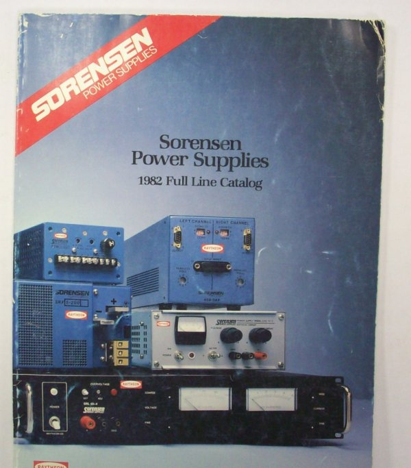 Here is a 1982 Full Line Catalog of Sorensen Power Supplies. It has sections for:Modular Power SuppliesPower AssembliesPower InstrumentsDigital-to-Analog