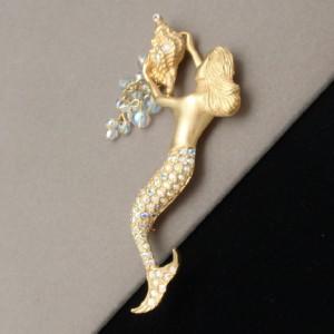 Mermaid Shell Brooch Pin Kirks Folly Rhinestones Figural