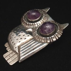 Owl Pin William Spratling Taxco c1943 Sterling Silver Amethyst Eyes