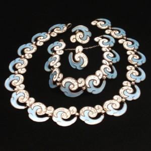 Margot de Taxco Set Necklace Bracelet Earrings Sterling Silver Enamel