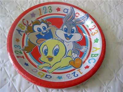 Baby looney tunes party supplies x8 cake plates shower for Baby looney tune decoration