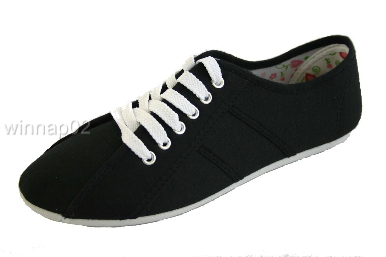Dunlop-Womens-Black-Sneaker-Pumps-Shoes-Sizes-3-8