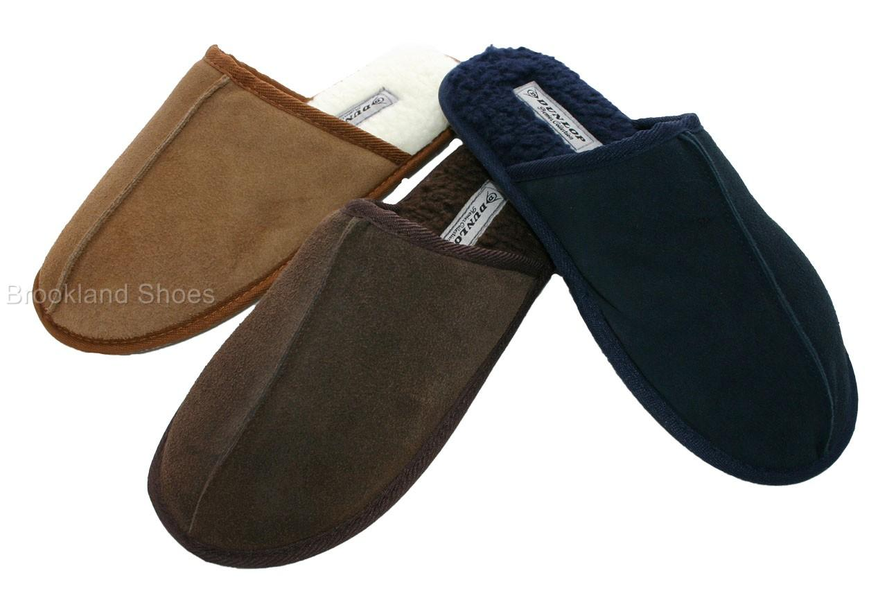 Mens-Dunlop-Real-Leather-Mule-Slippers-Sizes-6-11
