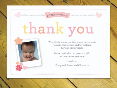 25 Personalised Thank you notes Naming Day Christening Birthday – Birthday Thank You Card Wording