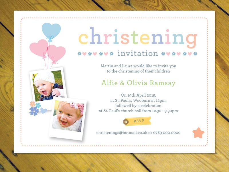 Personalised joint Christening Naming Day Baptism invitations ...