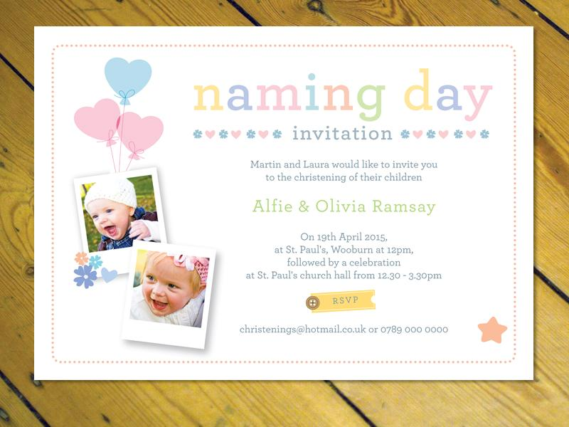 Personalised joint christening naming day baptism invitations personalised joint christening naming day baptism invitations birthday stopboris Images