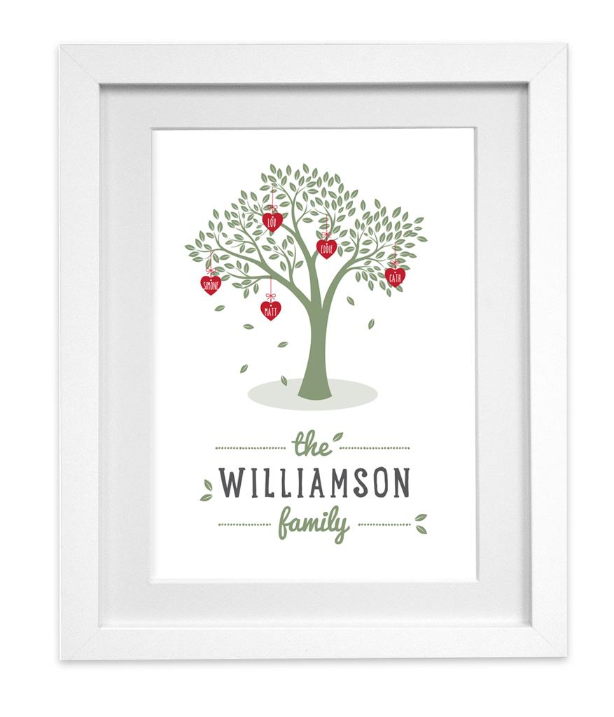 Personalised Family Tree print picture hearts name READY TO FRAME | eBay
