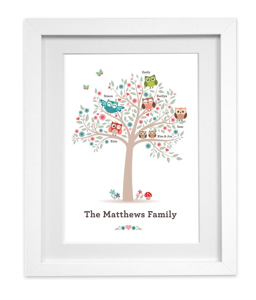 Personalised Owl Family Tree print picture wall art READY TO FRAME ...