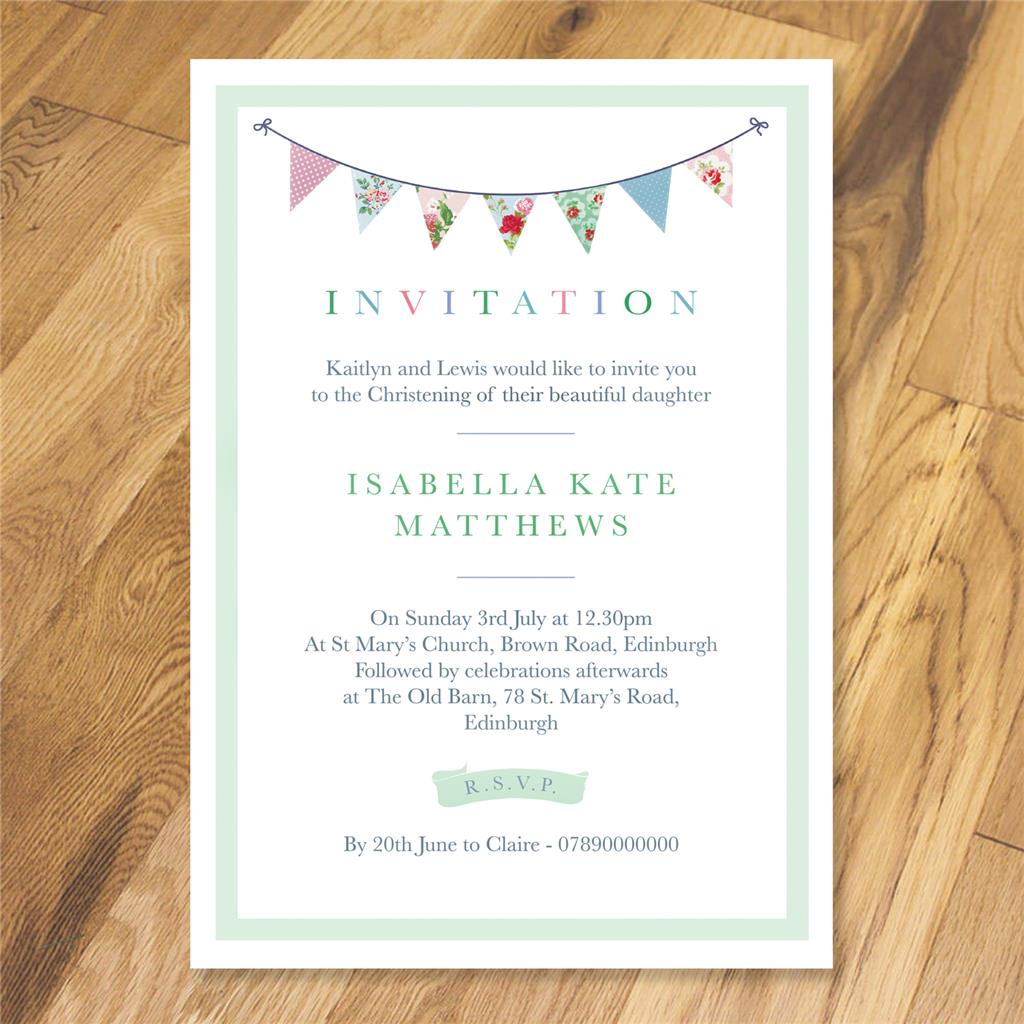 Personalised Cath Kidston bunting invitations - party - christening ...