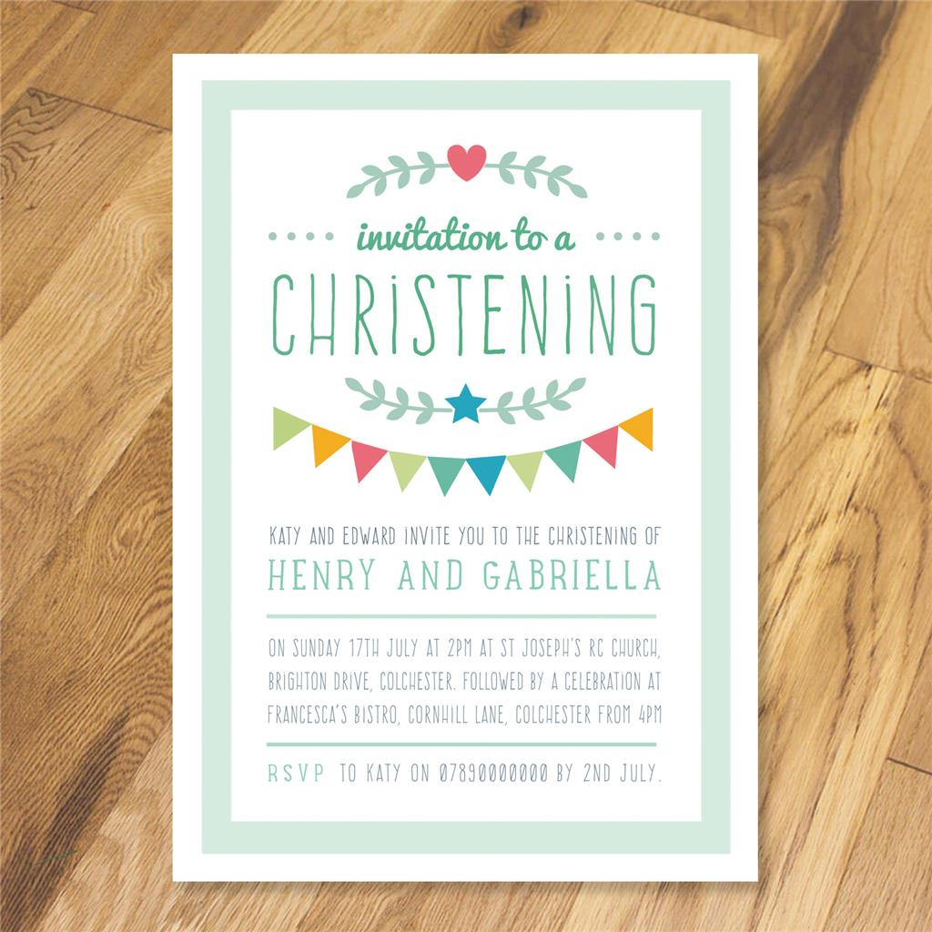 Personalised Joint Christening Naming Day Baptism invitations thank ...
