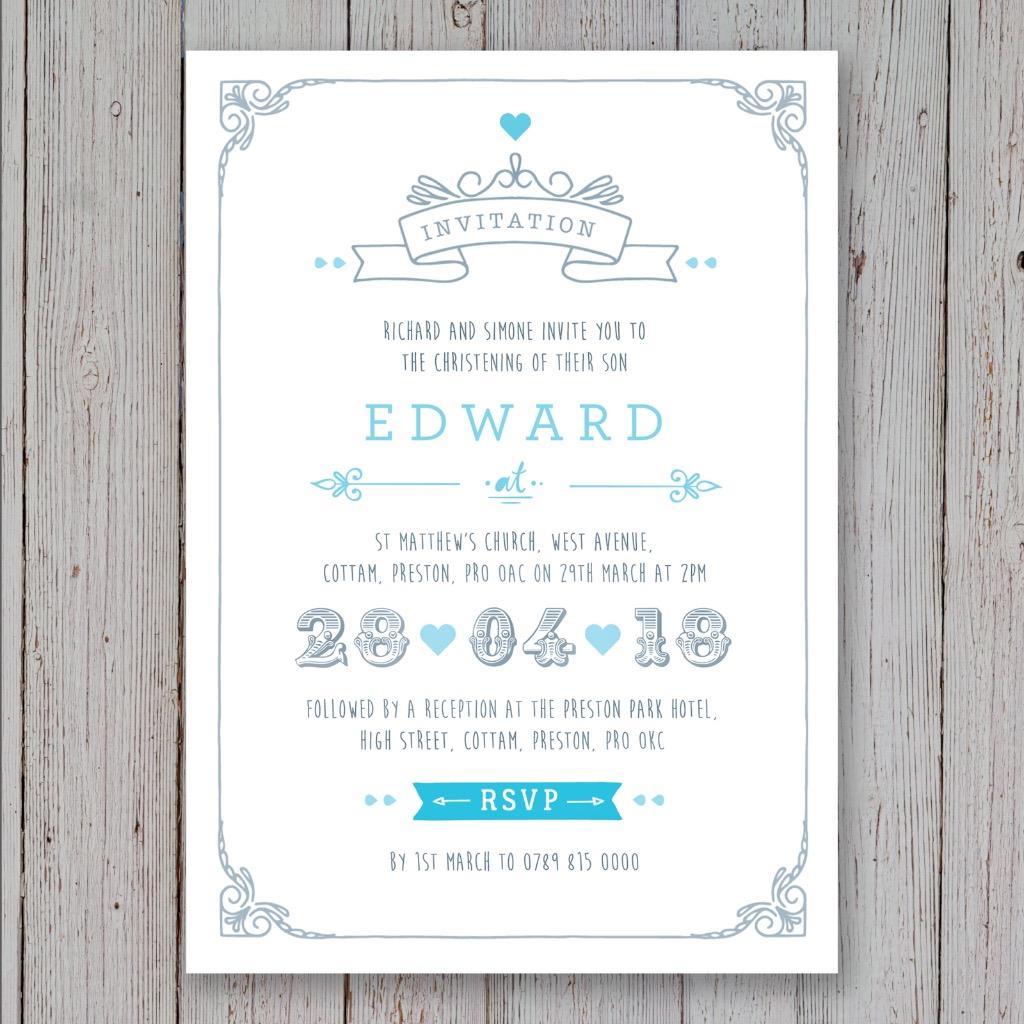 personalised christening invitations baptism birthday invites boy