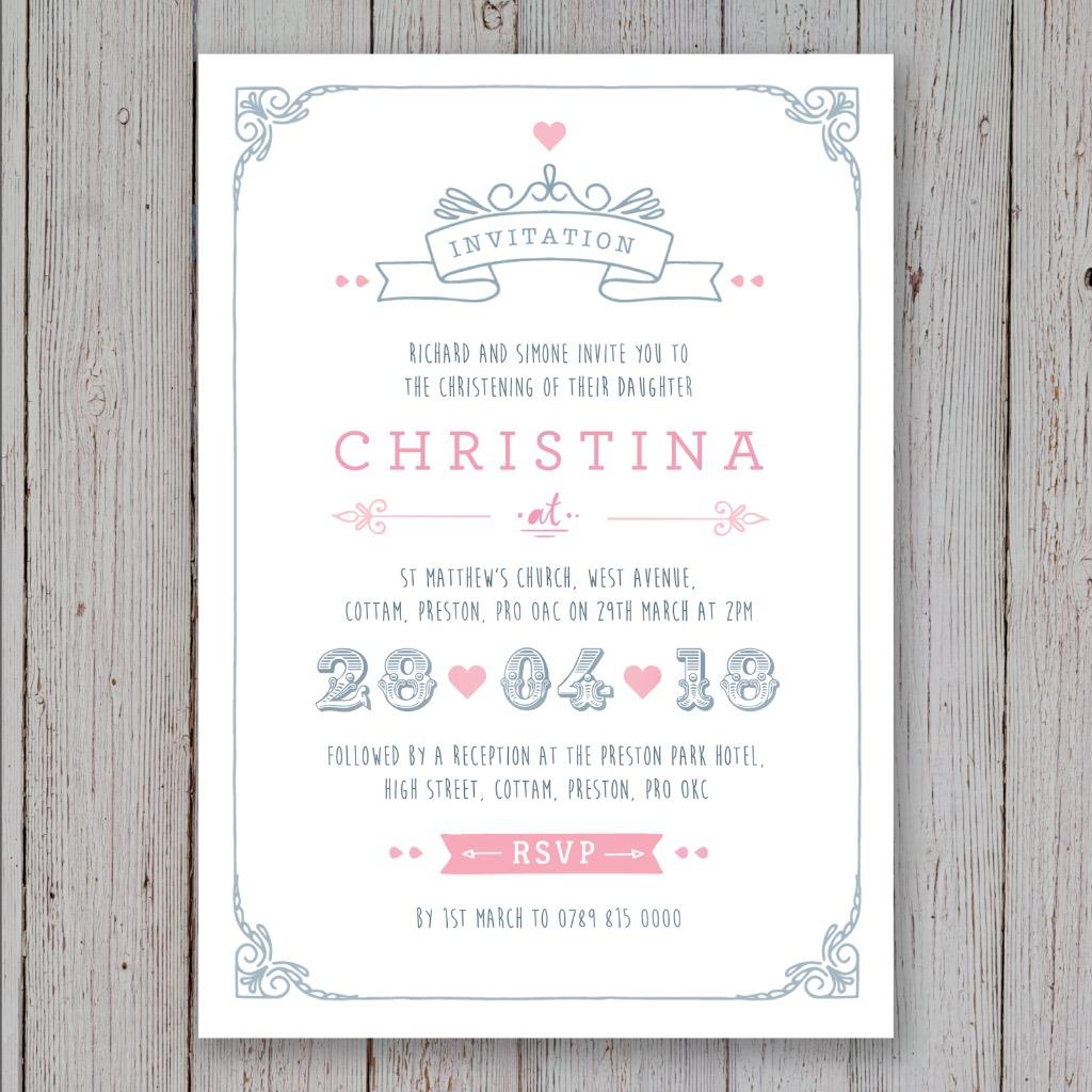 Christening Invites with luxury invitation template