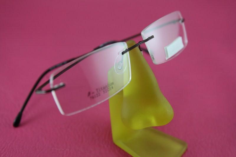 Pure titanium rimless RX eyeglasses glasses 8214 Spectacle ...