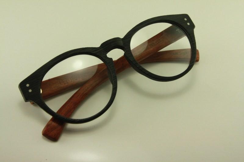 Real wood round shape japanese eyeglass glasses 8329 woody ...