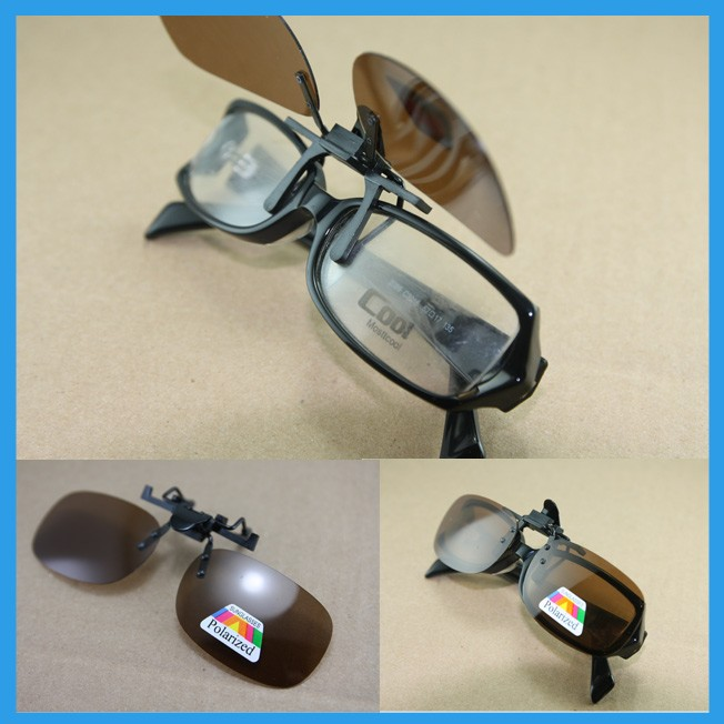 Polarized-night-drive-Clip-on-Flip-up-sunglass-eyeglass-glasses-Spectacle-yellow