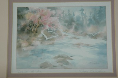 Pair Of Joyce Kamikura Watercolor Prints Framed Matted