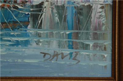 Vintage Oil Painting On Canvas Signed Davis Nautical