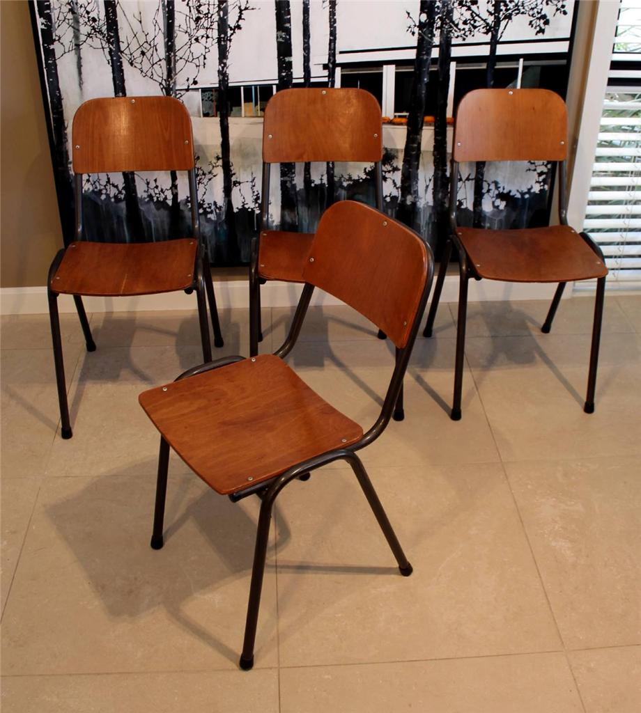 50s 60s industrial vintage retro dining chairs x 4 old for Dining room chairs 50