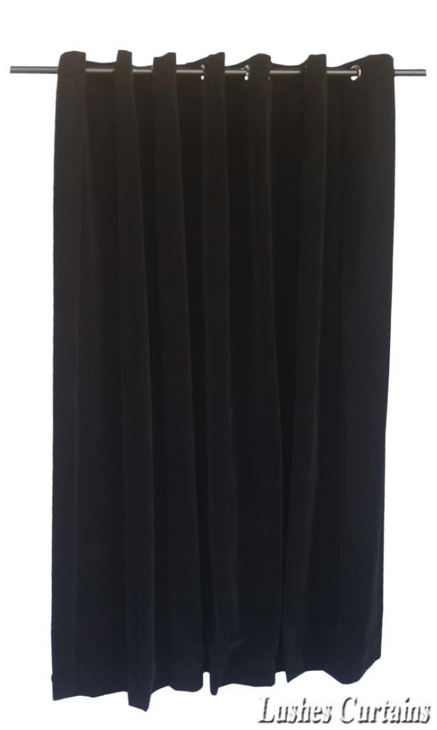 Details about Black 11 ft H Velvet Curtain Panel w/Grommet Top Eyelets ...