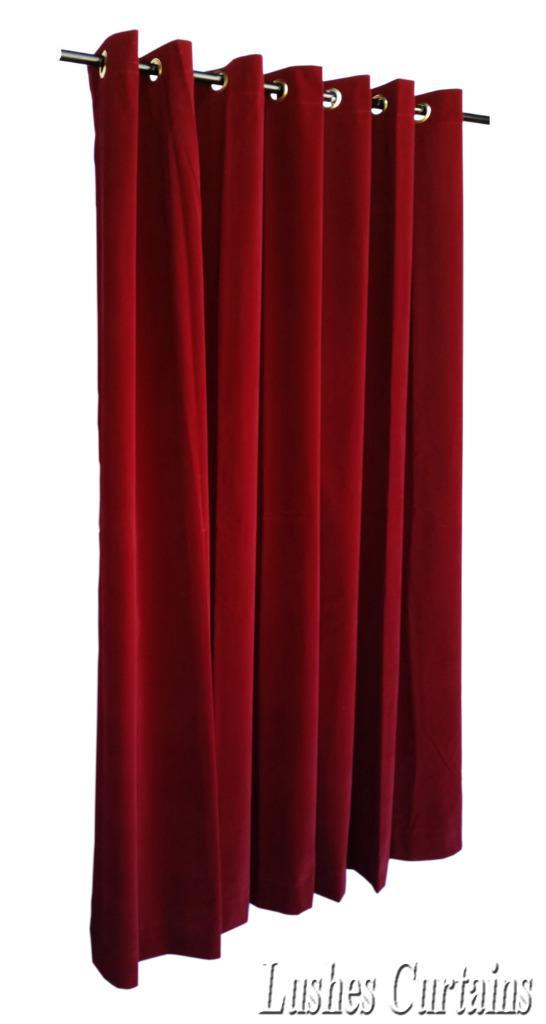 Burgundy 96 H Velvet Curtain Panel W Grommet Top Eyelets Window Treatment Drape Ebay