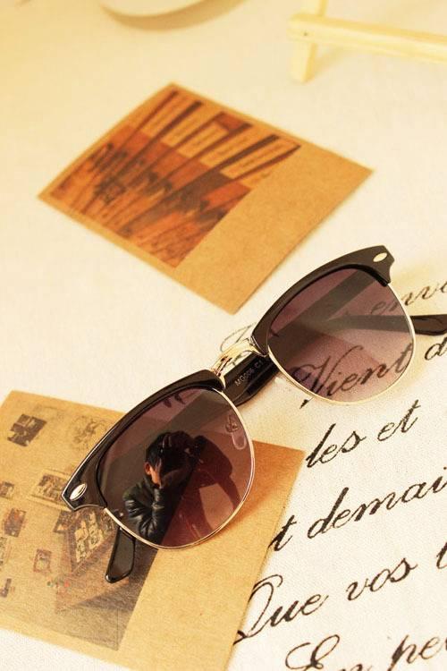 4Colors 3016 Wayfarer Clubmaster Vintage Retro 50's Sunglasses UV400 Protection