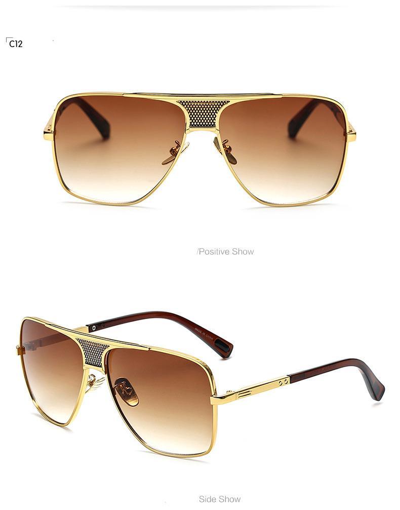designer mens sunglasses jp19  Square-Gradient-Lens-Metal-Retro-Vintange-Pilot-Men