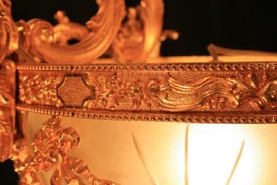 GRAND French Louis XV SOLID BRONZE Dore CHERUB ANGEL Ormolu Chandelier