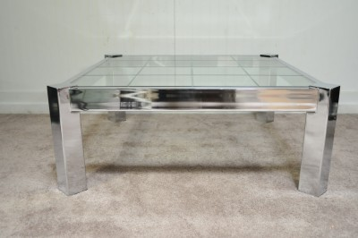 Vtg Mid Century Modern Chrome Etched Glass Square Coffee Table Pace  Baughman Era - Vintage Mid Century Modern Chrome Etched Glass Square Coffee Table