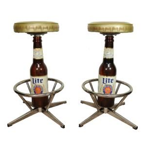 COOL Pair Vtg Miller Lite High Life Beer Bottle Bar Stools Chrome Retro Chairs